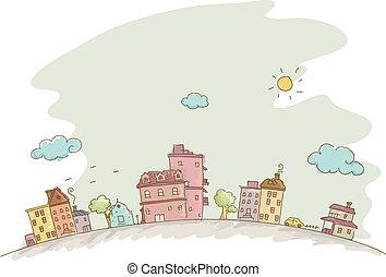 casas, bosquejo, plano de fondo