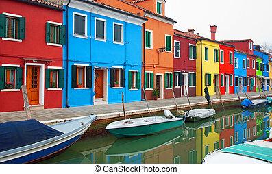 Casas coloridas, burano, Italia