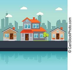 Casas coloridas en el vecindario