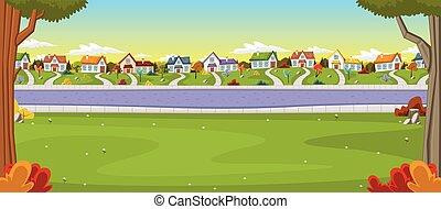 Casas coloridas en los suburbios.