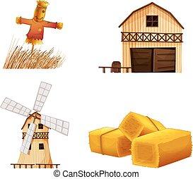 Casas de establo, heno y espantapájaros