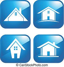 Casas de iconos azules