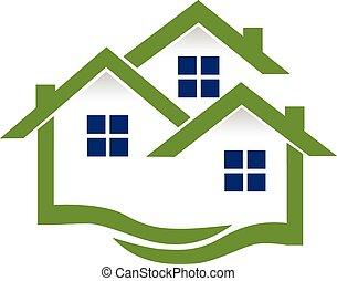Casas de logo y olas inmobiliarias