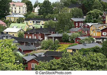 Casas de madera en el viejo distrito de Porvoo, Finlandia