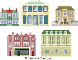 casas, edificios, viejo, lujo, formado