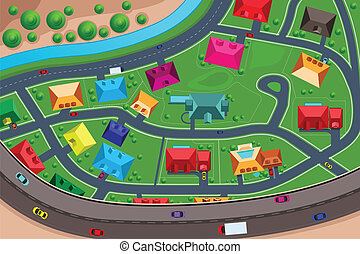 Casas en los suburbios vistas desde arriba