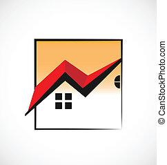 Casas enmarcadas logotipo de bienes raíces
