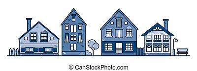 casas, estilo, calle., ilustración, town., suburban., tradicional, viejo, vecindad, vector, europeo