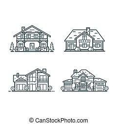 casas, residencial, línea fina, iconos