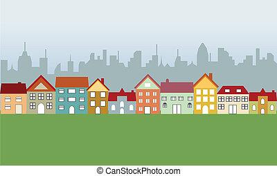Casas suburbanas y ciudad