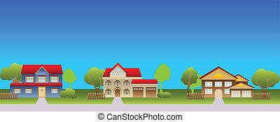 casas, suburbano, vecindad
