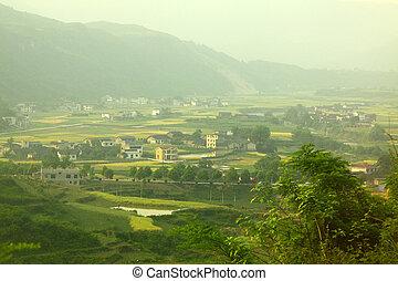 casas, tierras labrantío, china