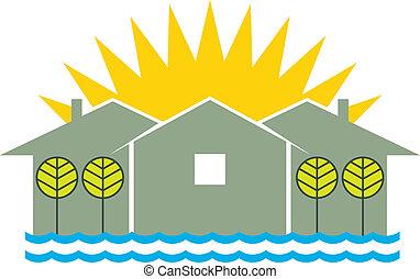 Casas y sol