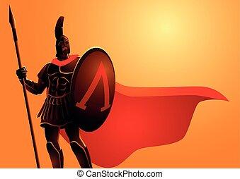 casco, capa, antiguo, llevando, rojo, guerrero