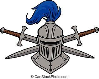 Casco de caballero y espada cruzada