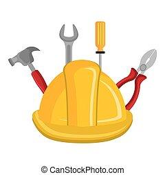 Casco de construcción con herramientas