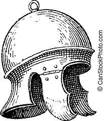 Casco de legionario romano o grabado antiguo galea