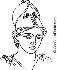 Casco de pincel del centurión griego o grabado antiguo galea