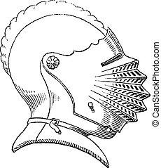 Casco del siglo XV o grabado de la cosecha de galea