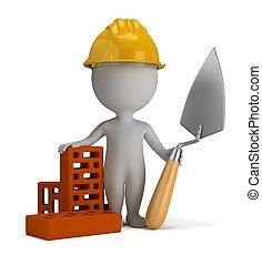 casco, gente, constructor, -, pequeño, 3d