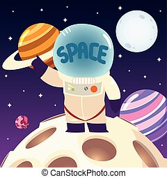 casco, luna, sistema solar, espacio, planeta, astronauta, caricatura