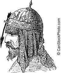 Casco nasal, grabado antiguo