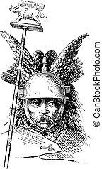 Casco normando o grabado antiguo de Galea