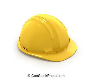 casco, o, plástico, sombrero, amarillo, duro