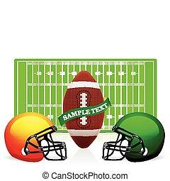 casco, pelota, fútbol, norteamericano, vector, campo
