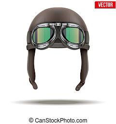 Casco piloto retro aviador con gafas. Aislado en blanco