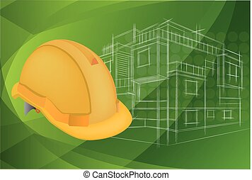 casco, protector, arquitectura, ilustración