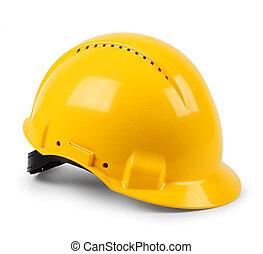 casco, protector, duro, moderno, aislado, amarillo, seguridad, sombrero