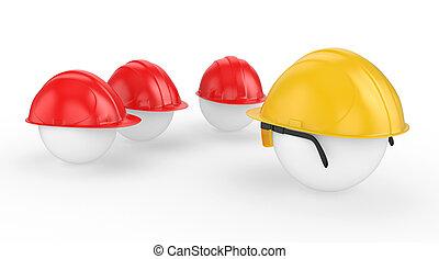 casco, trabajadores, trabajo, jefe, caras, reunión, antes