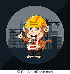 casco, utilizar, mono, torre, seguridad, arquitecto, edificio amarillo