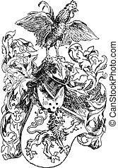 Casco y escudo de caballero, grabado antiguo