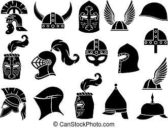 cascos militares vector iconos fijados (antiguo romano, galo, normando, vikingo, griego o espartano guerrero, caballero medieval)