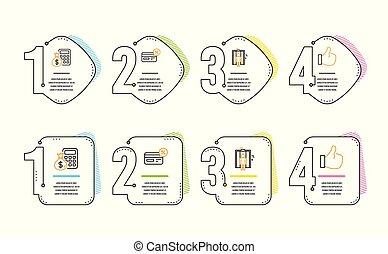 Cashback, ascensor y calculador de iconos. Como una señal. Pago no efectivo, ascensor, calcular dinero. Vector