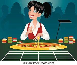 casino, hembra, crupier