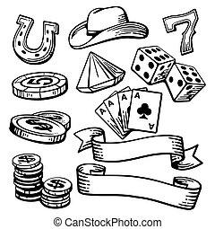 casino, stetson., símbolos, conjunto