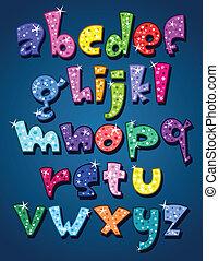 caso, alfabeto, más bajo, brillante