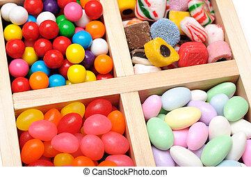 caso, de madera, dulce, colorido, variedad