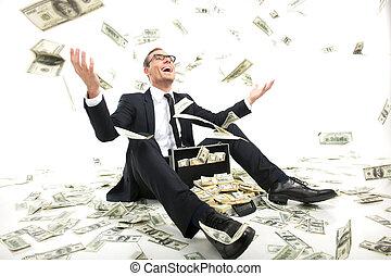 caso, lleno, sentado, lanzamiento, dinero, rich!, joven, formalwear, arriba, moneda, mientras, papel, hombre de negocios, feliz