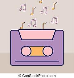 cassette, notas, púrpura, música