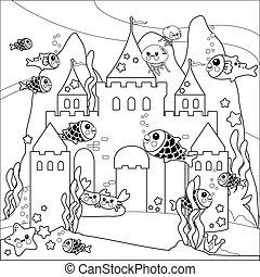 castillo, animals., página, hermoso, negro, colorido, blanco, mar, submarino, vector