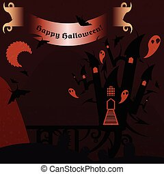 Castillo de Halloween rojo con una bandera de texto