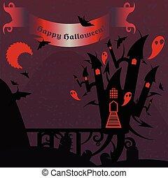 Castillo de Halloween rojo y púrpura con una bandera de texto