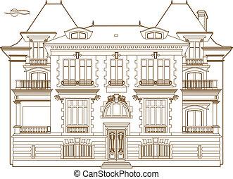castillo, dibujo, ocre