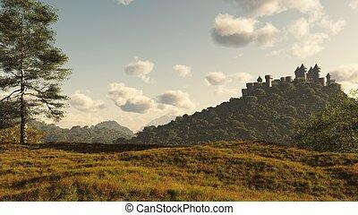 castillo, distante, medieval