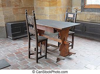 castillo, escritorio, antigüedad