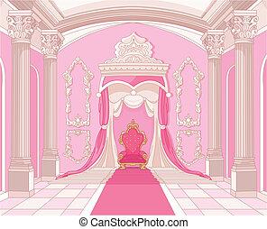 castillo, habitación, magia, trono